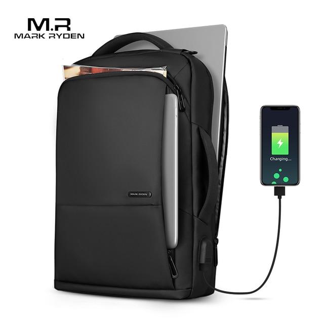 Mark Ryden Travel Backpack Large Capacity Teenager Male Mochila Anti thief Bag USB Charging 15.6 inch Laptop Backpack Waterproof