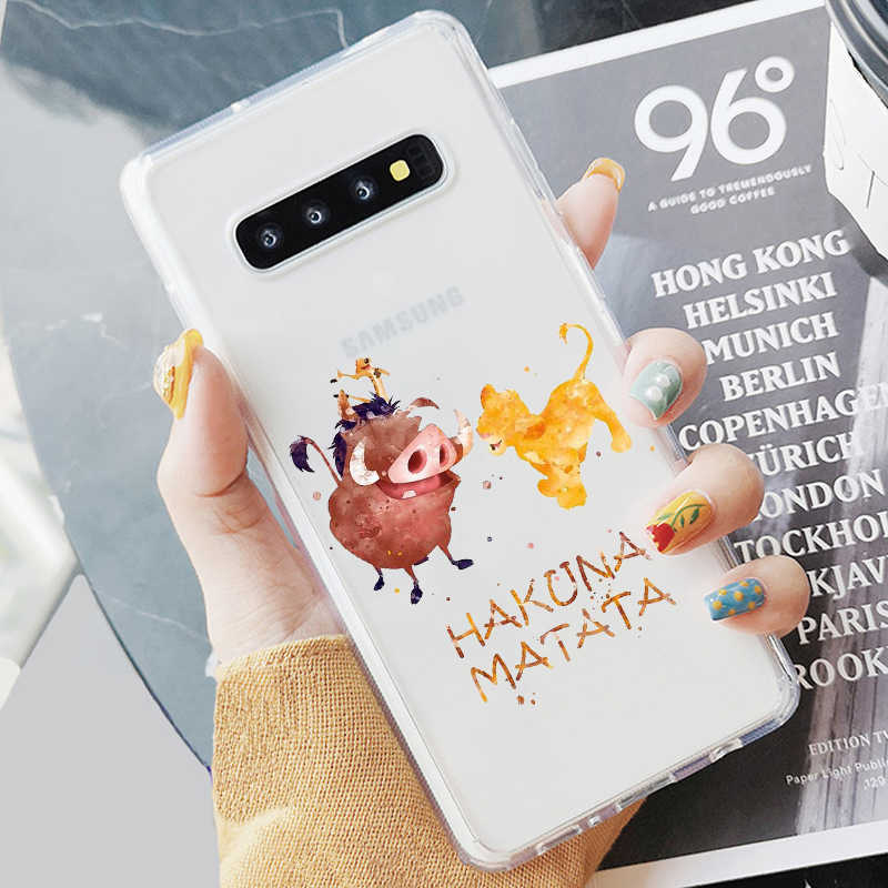 The Lion King Simba Pumba Hakuna Matata Lembut Coque Shell Ponsel Case untuk Samsung S7 Edeg S8 S9 Plus S10 + S10E Lite A50 A70 NOTE8