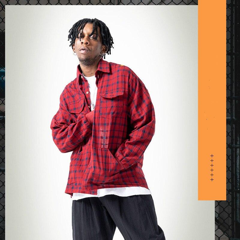 Autumn New Original Screw Sleeve Plaid Loose Shirt Casual Red Plaid Hip-hop Style Shirts