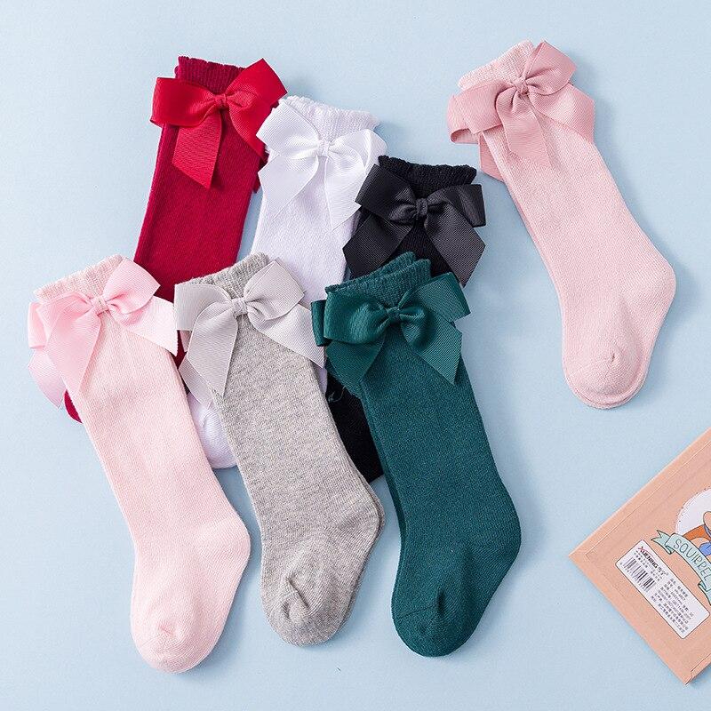 Носки для новорожденных девочек новые детские носки гольфы с большим бантом для маленьких девочек, мягкие хлопковые кружевные детские носки