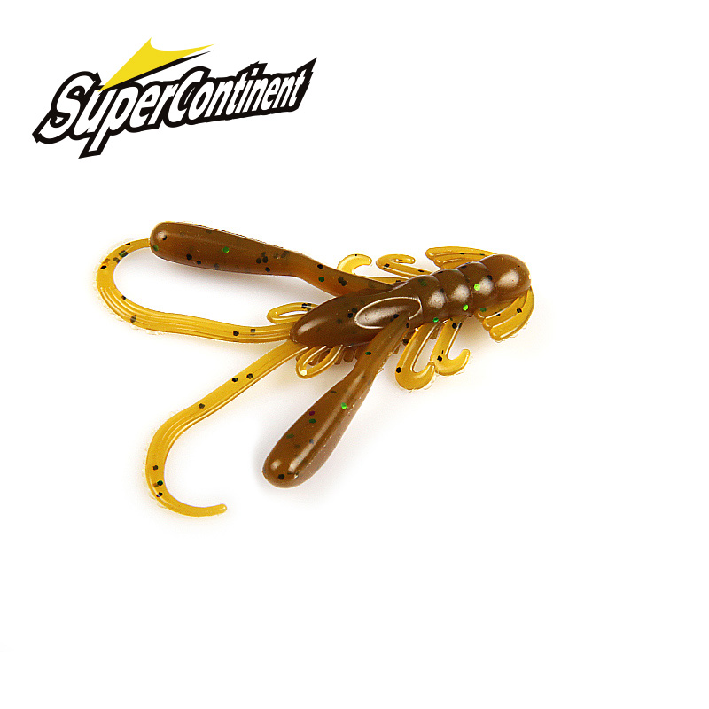 2019 Supercontinent 15Pcs/lot Soft Bait Silicone Lures Worm 4cm 1.6g Fishing Lures Attractive Shrimp Odor Salt Wobbler