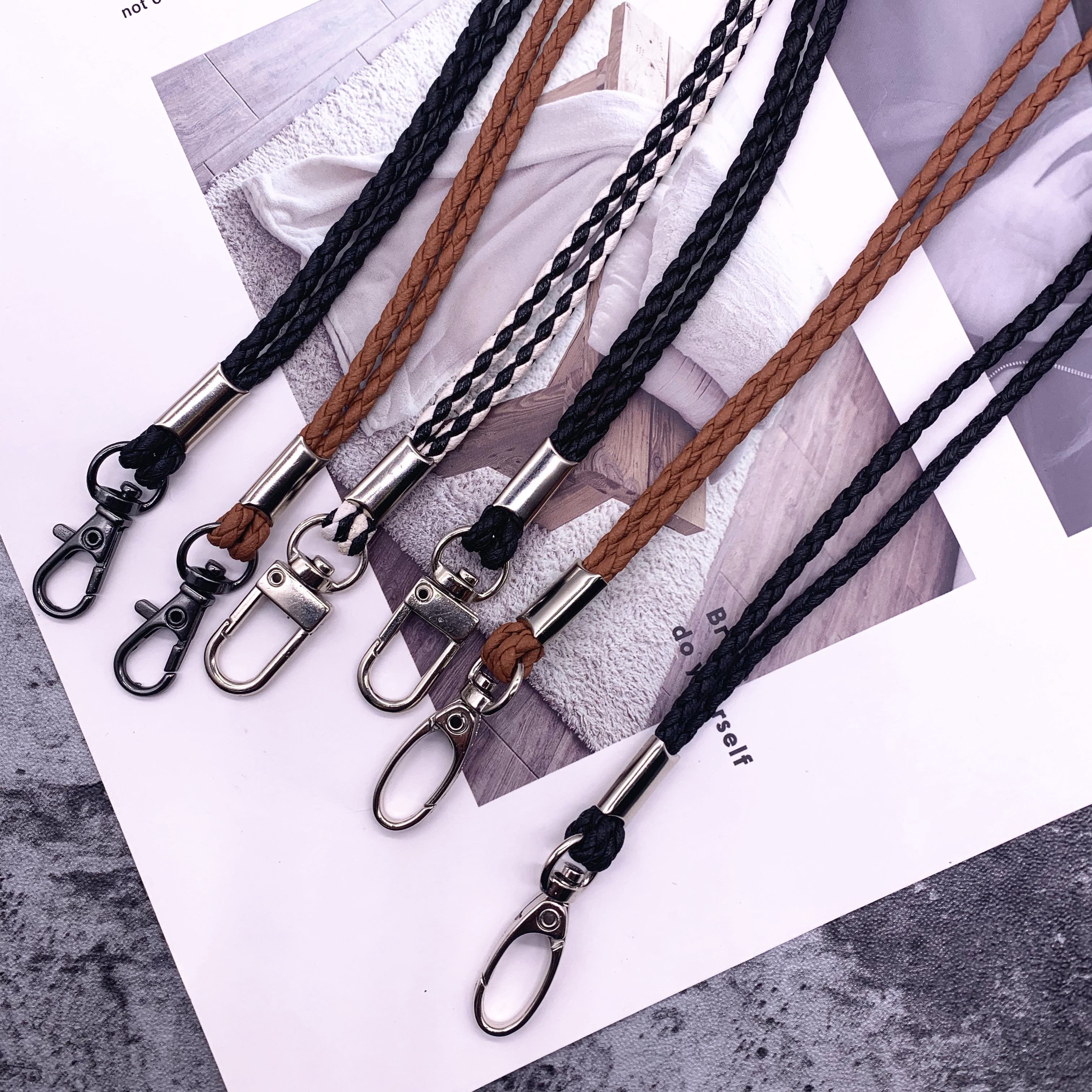 High Quality Leather Rope PU Braided Straps For Keys Lanyard Mobile Keychains Neck Straps Anti-theft Mobile Phone Chain