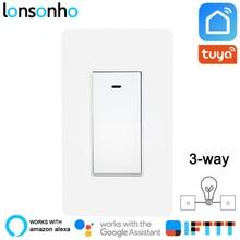 Lonsonho 2 Way US Wifi Smart Switch Tuya Life App Wireless Remote Control Wall Panel Light Alexa Google Home