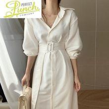 Moda koreańska wiosenna białe sukienki dla kobiet elegancka koszula sukienka Midi z długim rękawem Casual V Neck Vestidos Pph222 tanie tanio Z nami (pochodzenie) Wiosna Poliester Akrylowe -Line Osób w wieku 18-35 lat WOMEN V-neck Pełna REGULAR Skrzydeł Pani urząd