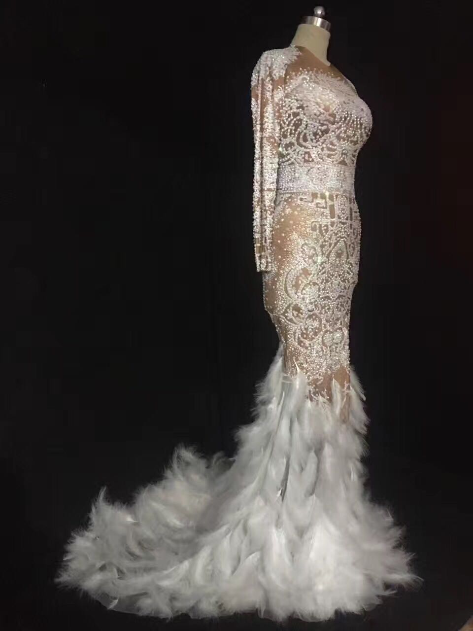 Evening Dance Rhinestones Feather Nude Dress Sexy Nightclub Full Stones Long Big Tail Costume Prom Birthday Celebrate Dresses