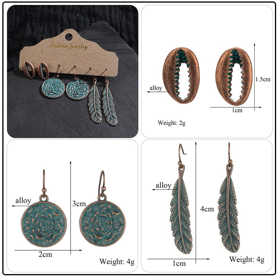 Bohemian Bronze Big Flowers Drop Earrings for Women 10 Style Vintage Leaf Metal Tassel Fringe Hanging Earring Females Jewelry (4)