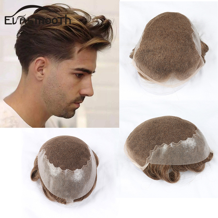 Q6 Style Real Male Wig Blonde Human Hair Toupee For Men Brazilian Remy Hair Replacement System Skin PU Lace Wig Mens Toupee 6 In