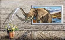 3d wall murals wallpaper for living room Elephant sprays water on the brick wall home decor photo wallpaper for walls 3 d(China)
