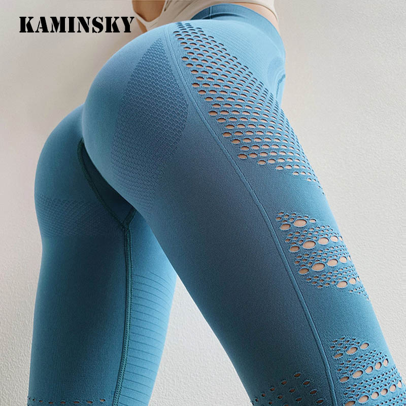Kaminsky Women Legging Fitness High Waist Peach Hip Elastic Leggings Hollow Breathable And Quick-drying Leggings Sexy Women Pant