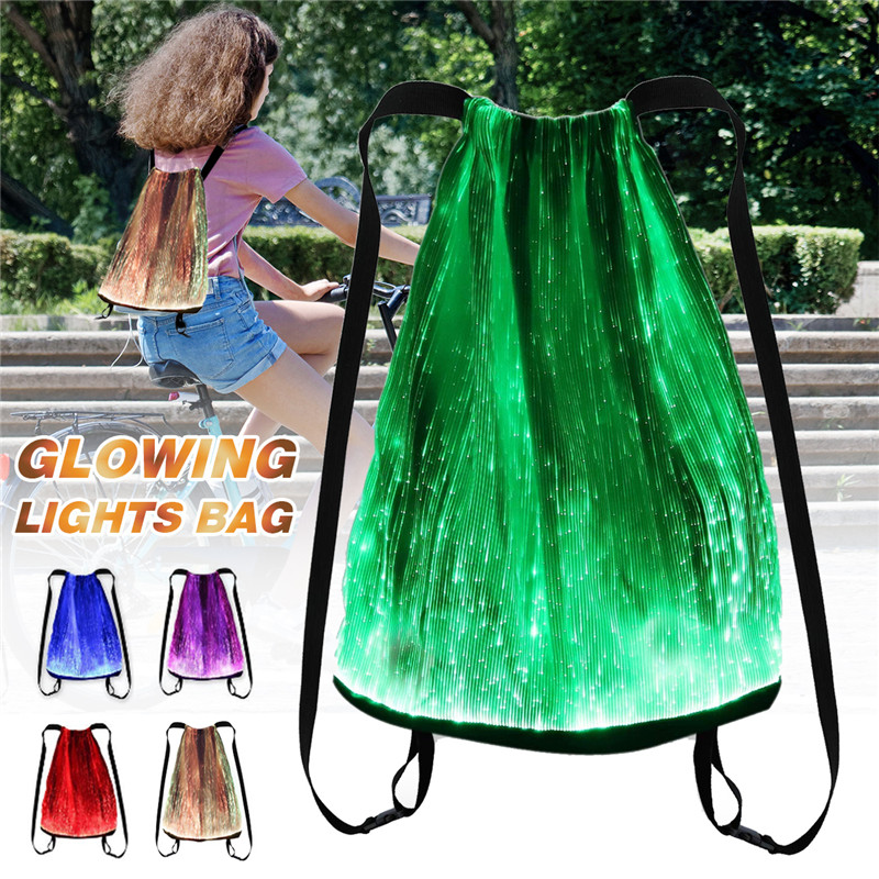 Novelty Backpack RGB Luminous Glow Drawstring Bag Luminous Fashion Backpack 11 Modes DC3.7V USB Rechargeable Set