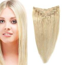 Sindra индийские прямые волосы Реми клип в человеческих волос для наращивания блонд цвет#60 полный набор 7 шт./компл. 90 г 120 г