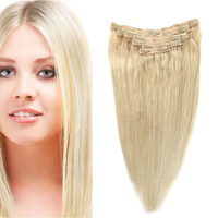 Sindra Indian Straight Remy Hair Clip In Human Hair Extensions Blonde Color #60 Full Sets 7Pcs/Set 90g 120G