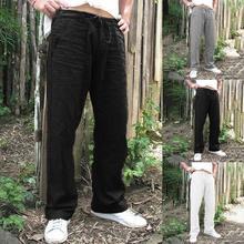 Men Solid Baggy Loose Elastic Pants Cotton Sweatpants Casual