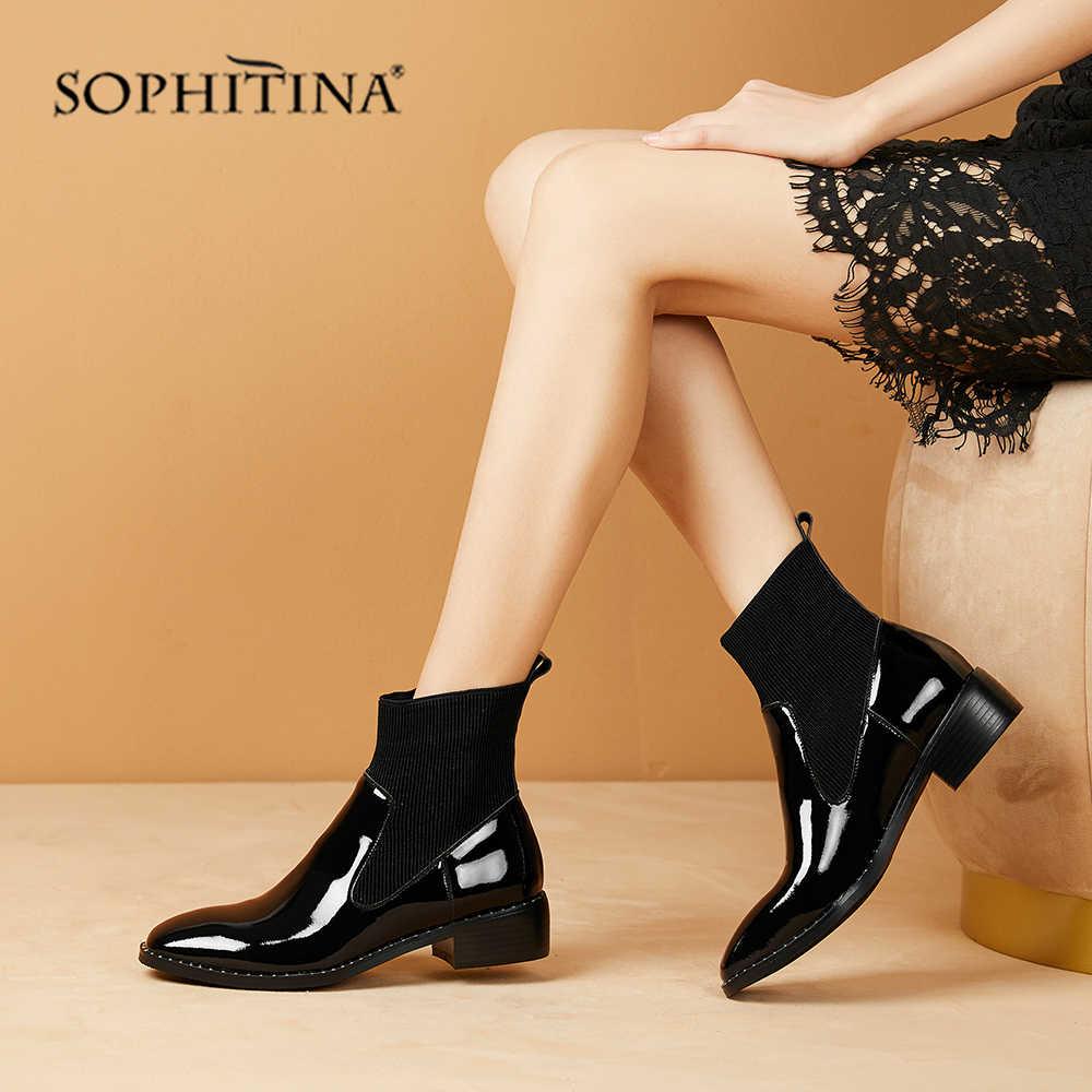 SOPHITINA ayak bileği kadın botları rugan yumuşak şık rahat kare topuk otoriter moda ayakkabılar katı seksi botlar PO265