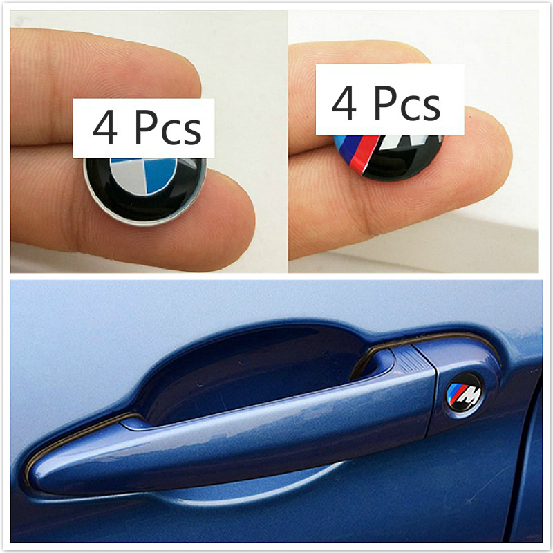 4pcs 20mm Door Handle Sign Stickers Modified Car Accessories Door Lock Stickers Car Stickers For BMW X1 X3 X5 X6 3series Sticker