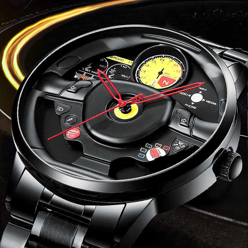 Nektom relógios masculinos esportes do carro relógios de quartzo à prova dwaterproof água esporte aro hub roda relógio de pulso do carro de quartzo masculino relógio