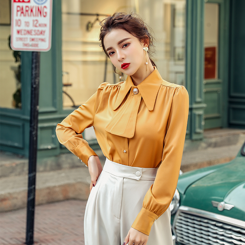 French Style Shirt Womens Tops New Spring Turn-down Collar Women Shirts Ginger 9193