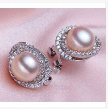 charming a pair 10-11mm AAA++ south sea gold pink pearl stud earrings