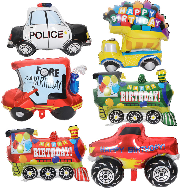 Pickup Trucks Car Foil Balloon Happy Birthday Party Decoration Big Tank Train Police Cars Fire Car  Balloon  Cartoon Hat