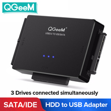 QGeeM SATA To USB IDE Adapter USB 3.0 Sata 2.5 3.5ฮาร์ดดิสก์ไดรฟ์HDD SSD USB Converter IDE SATA USB SATA Adapter Cable