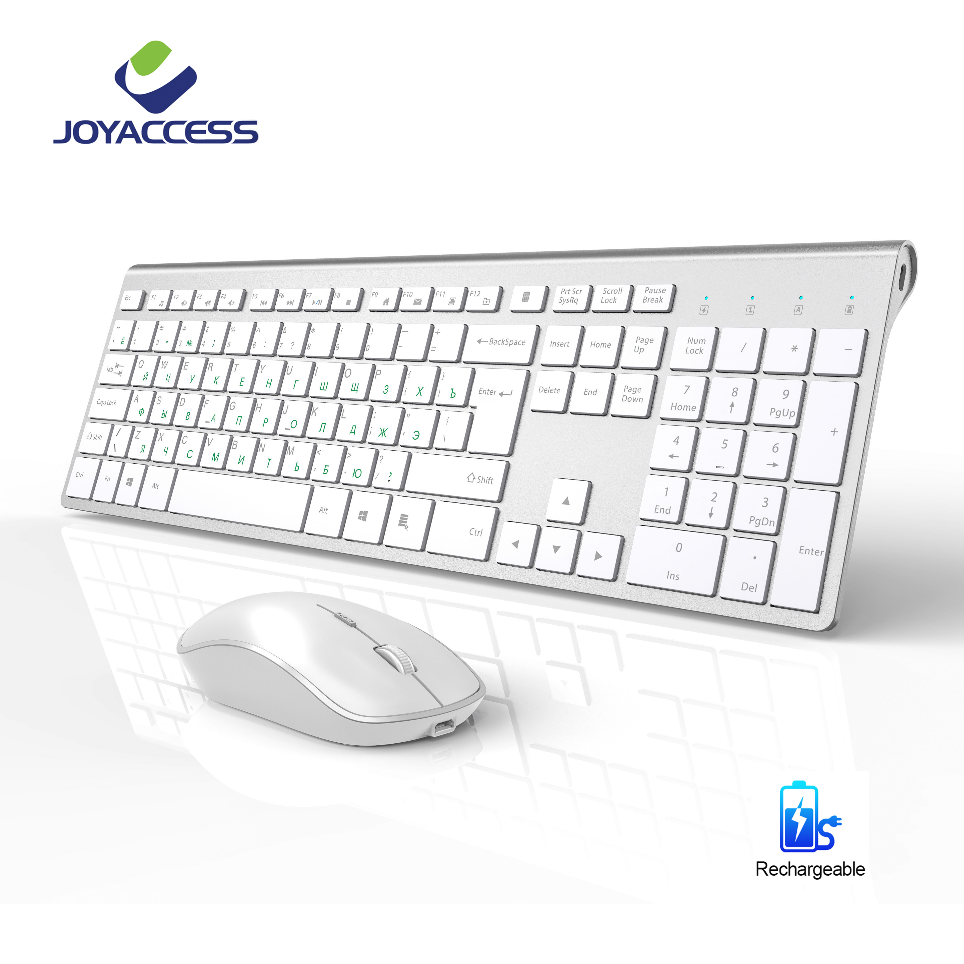 Rechargeable Russian Wireless Keyboard And Mouse English Standard Keyboard Silent Mouse Ergonomic Mice Slim Keyboard Mouse Set