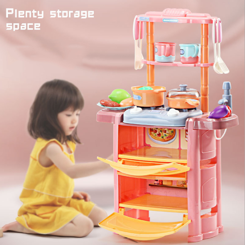 New 6 Types 1 Set Kitchen Pretend Play Toy With Light Kids Simulation Kitchen Cooking Supermarket Play Home Food Cart Toy D240