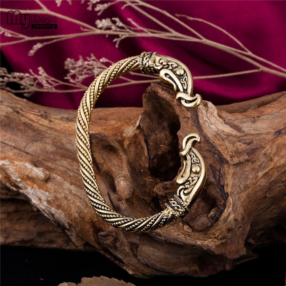 My Shape Viking Wolf Head Bracelet Men Cuff Bangle Pulsera Alloy Metal Dragon Animal Bracelets For Women Punk Vinage Jewelry