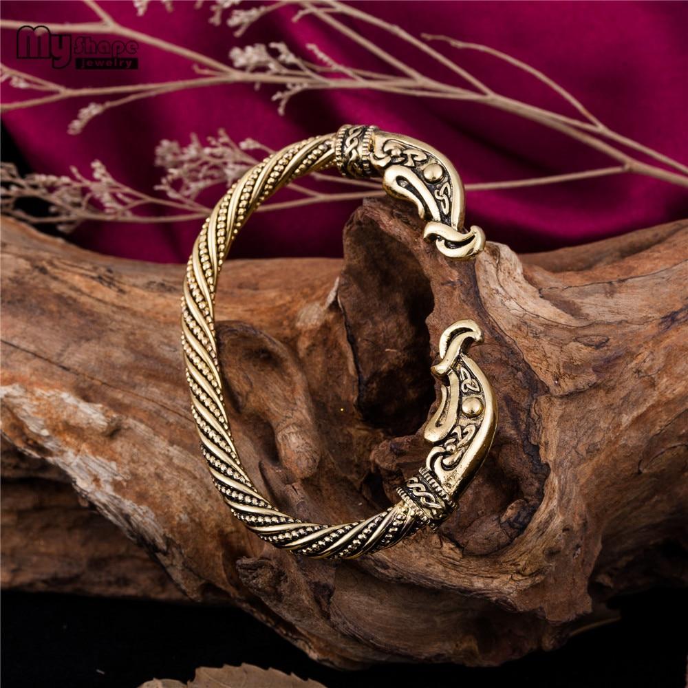 My Shape Wolf Head Bracelet Viking Cuff Bangle Magic Pulsera Dragon Animal Men Jewelry Wristband Cuff Bracelets For Women Bangle