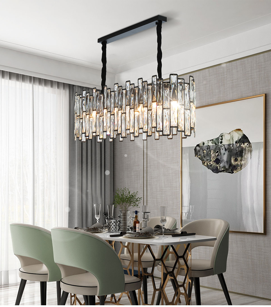 New Modern Rectangle Black Chandelier
