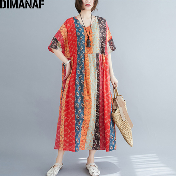 DIMANAF Summer Oversize Long Dress Women Clothing Print Floral Sundress Beach Elegant Lady Vestido Cotton Casual Loose Plus Size 1