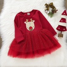 Elk Print Girls Christmas Dress A-line Lace Vestido infantil Autumn Long Sleeve Layered Dress Pure Red Christmas Clothes D35