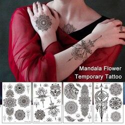 Mandala Flower Temporary Tattoo Stickers Collarbone Hand Back Body Retro Black Disposable Fake Tattoos Waterproof For Sexy Women