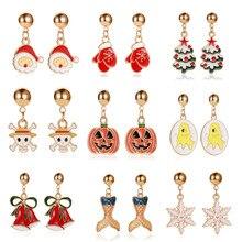 Hot New Fashion Santa Claus Snowman pumpkin lovely Christmas Halloween Stud Earrings For Women Girls nice gift Fashion Jewelry