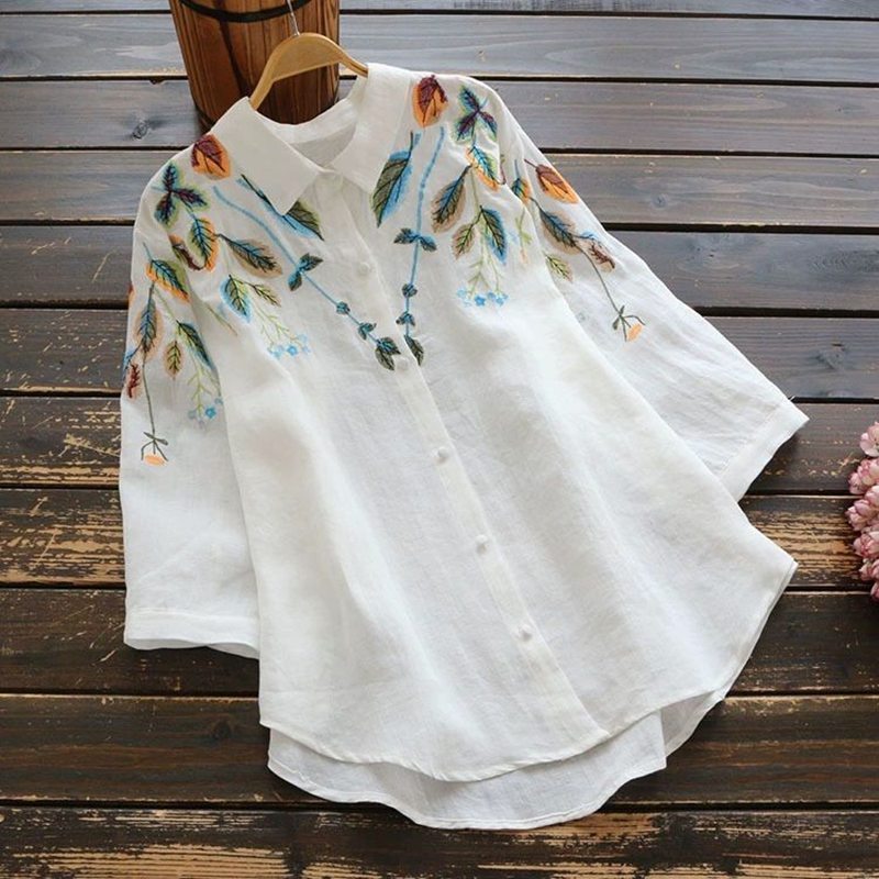 Plus Size Tops For Women White Shirt 100 Cotton Blouse Embroidery High Quality 3/4 Sleeve Vintage Ladies Office Casual Button Up