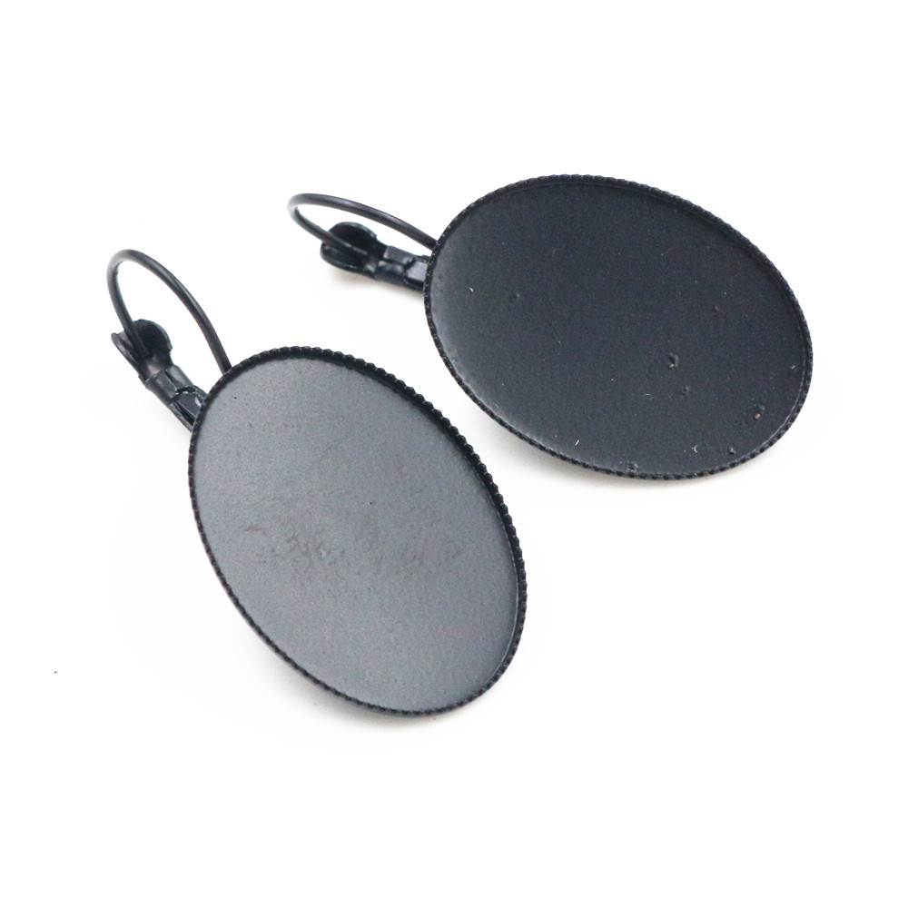 18x25mm 10pcs Black Plated French Lever Back Earrings Blank/Base,Fit 18x25mm Oval Glass Cabochons;Earring Bezels (L5-30)