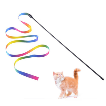 1/3PCS Rainbow Cat Teaser Stick Toys Double-sided Rainbow Ribbon Cat-teaser Sticks Cat Interactive Toy Household Pet Supplies 1