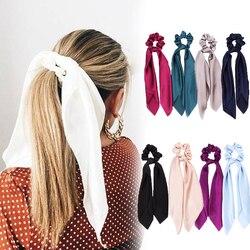 Moda faixas de cabelo sólido scrunchies sólido longo fita de cabelo para mulheres rabo de cavalo cachecol doce elástico boêmio acessórios de cabelo