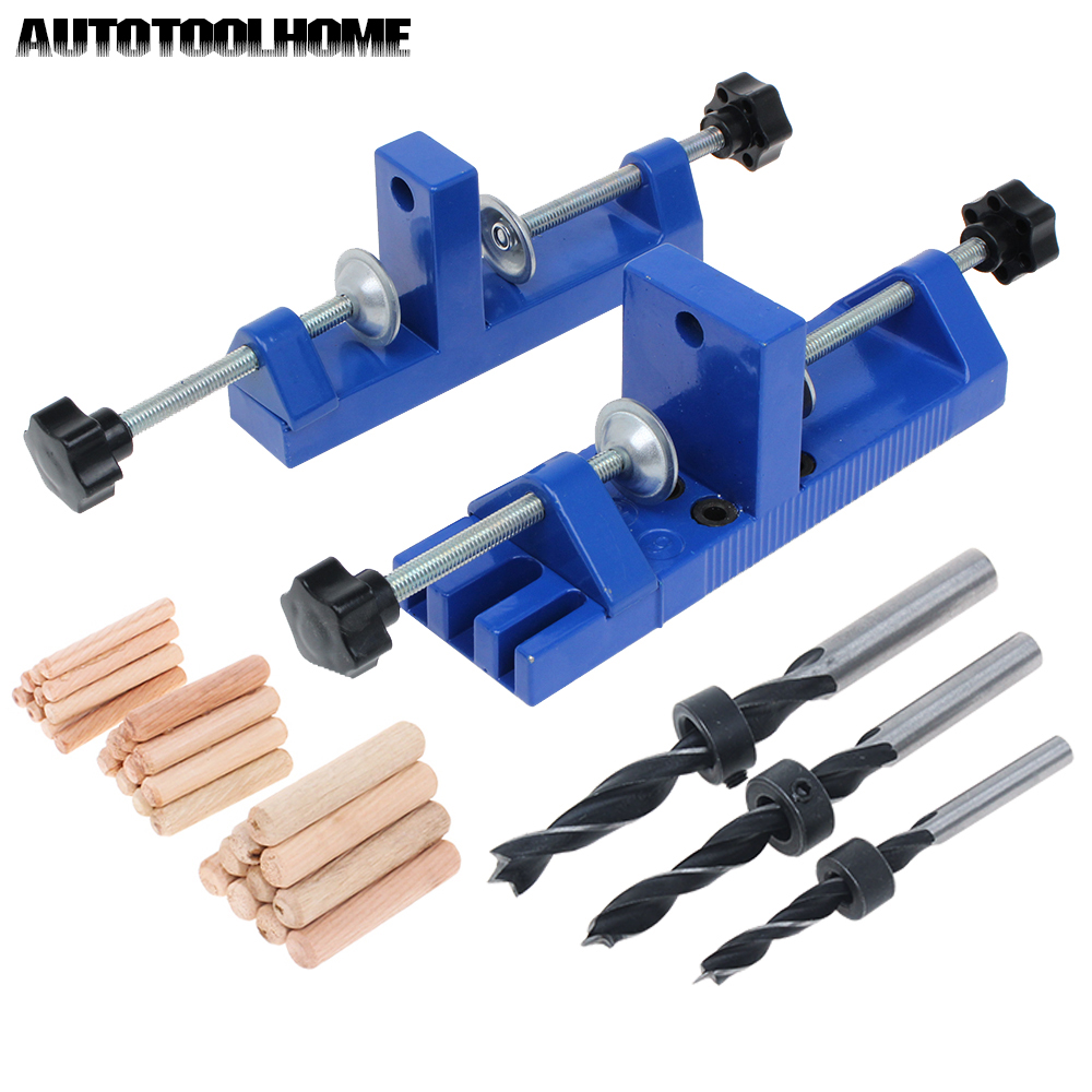 Self Centering Dowel Wood Jointing Drilling Doweling Drill 6 Holes Jig Tool Kit