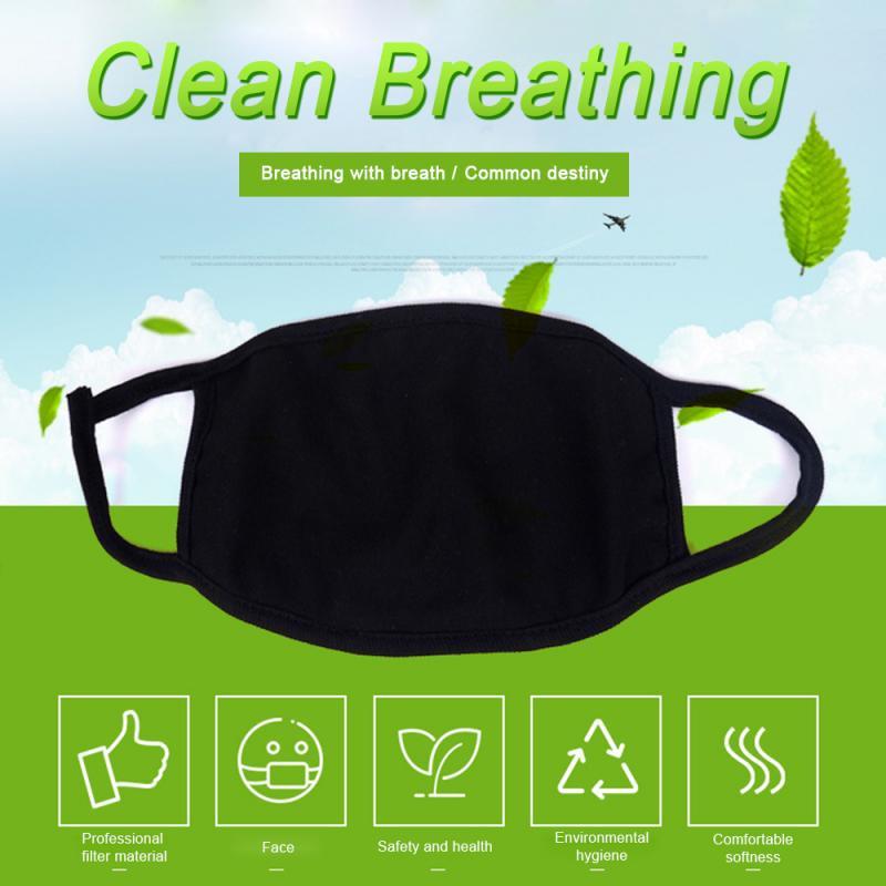 Adult Unisex Black Anti-Dust Cotton Mouth Face Mask Black Mask Half Mask Outdoor Black Washable Protective Mask Respirator