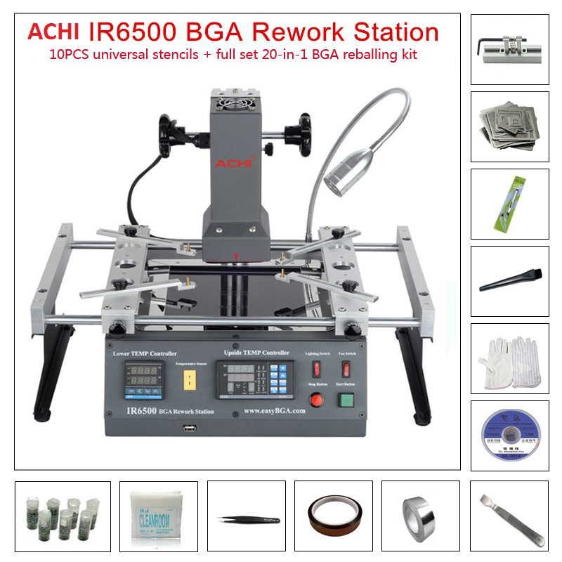 ACHI IR6500 V2 Infrared BGA Rework Machine BGA SMD SMT Desoldering Rework Station + 20 In 1 BGA Solder Balls Flux Reballing Kit