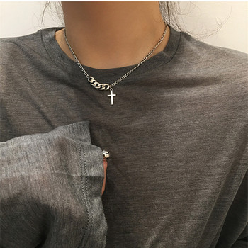Vintage Stainless Steel Cross Short Necklace Sweater Chain For men woman  1
