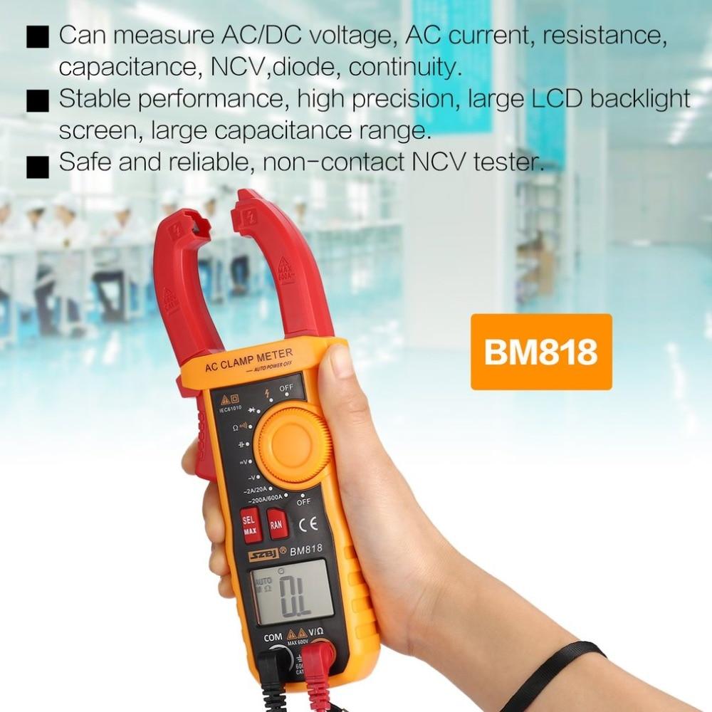 SZBJ BM818 Digital DC/AC Clamp Meter Multimeter Volt Amp Ohm Diode NCV Capacitance Tester Handheld Non Contact Ammeter Tester