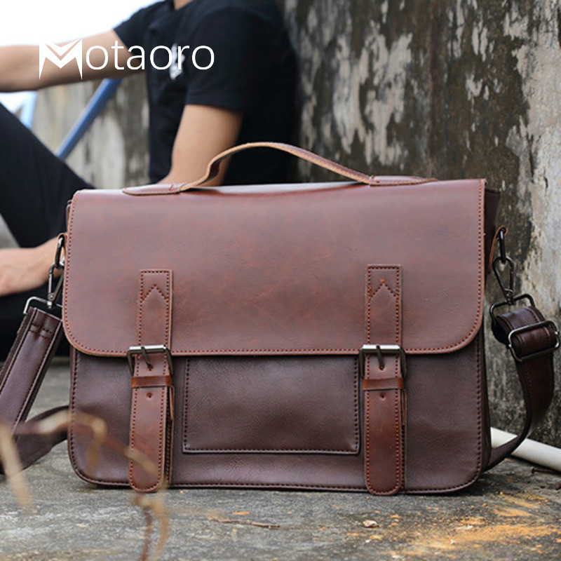 Mens Bag Big Capacity Leather Retro Briefcase Shoulder Bag Strap Men Business Handbag Black Bag Bolso Bandolera Hombre Sac Homme