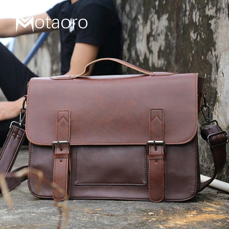 Mens Bag Big Capacity Leather Retro Briefcase Shoulder Bag Strap Men Business Handbag Black Bag Bolso Bandolera Hombre Sac Homme