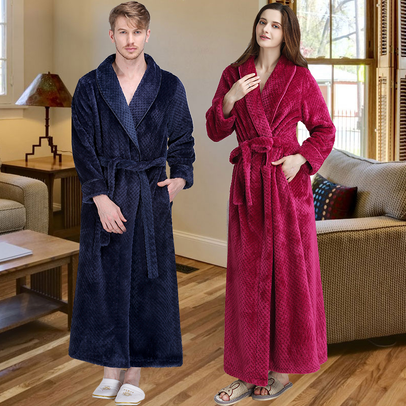 Men Warm Winter Robe Extra Long Thick Grid Flannel Bathrobe Male Luxury Kimono Bath Robe Women Home Thermal Dressing Gown