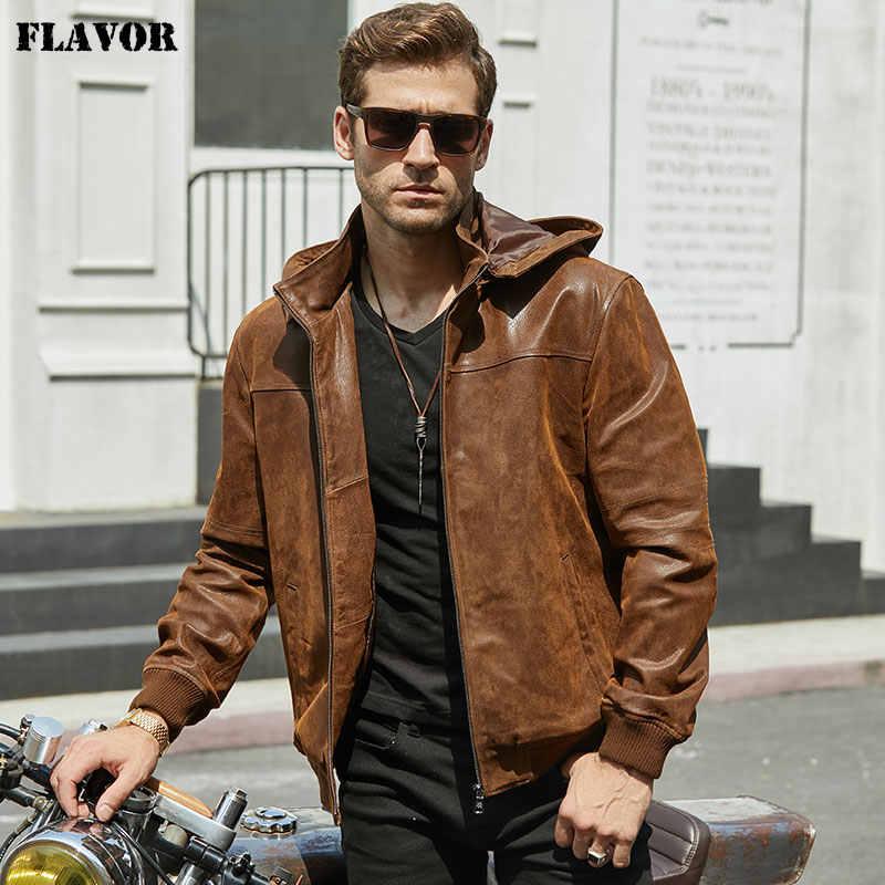 新メンズ冬のジャケット本物の豚皮フード、ピッグスキンオートバイジャケット、天然皮革ジャケット