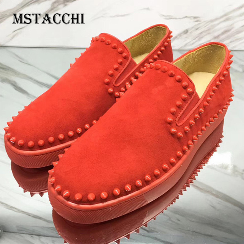 MStacchi 2020 Men Leisure Shoes Leather Rivets Flat Comfortable High Quality Male Loafers Outdoor Party Walking Cool Men Shoes