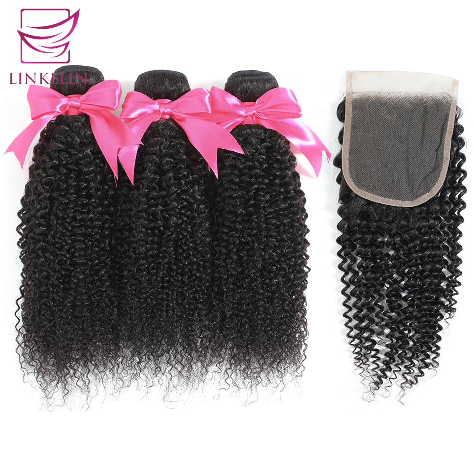 Peruvian Kinky Curly Human Hair Bundles With Closure LINKELIN HAIR Extensions 3 Bundles With Closure Remy Curly Bundles
