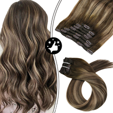 Human Hair Extensions Clip in Natural Double Wefted Mahcine Remy Hair Balayage Brown Color Full Head Clip in Hair Pieces