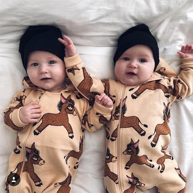 TinyPeople Ezel Baby herfst Jumpsuits Jongens Katoen Hooded Speelpakje winter Meisjes Overall Onesie Kleding Peuter Rompertjes